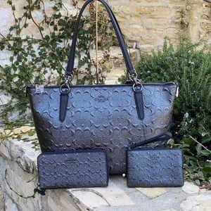 NWT Coach signature Ava handbag&wallet&wristlet